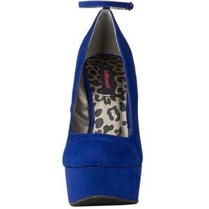 e19a6b5895ae Dollhouse Shoes - Dollhouse Confession Blue Heel Less Curved Wedge